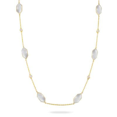 White Mother of Pearl Orchid Station Necklace