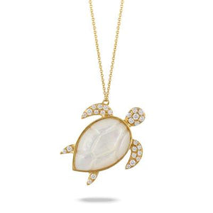 White Mother of Pearl Orchid Turtle Pendant