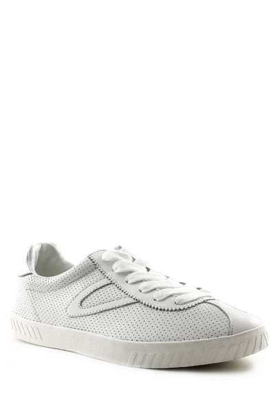 Camden 2 Perf Leather - White/Silver  https://shoptrixie.com/products/camden-2-perf-leather-white-silver  The Classic Tretorn sneaker updated in a perforated leather. Featuring white on white logo and silver at the back.