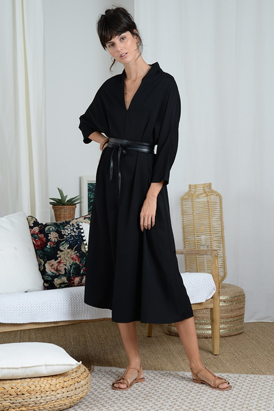 Kimono Dress rv121de21 BY MOLLY BRACKEN  https://shoptrixie.com/products/kimono-dress-rv121de21  This Kimono style V-Neck dress fits loose and comfy but comes with the Wrap Belt you see pictured here to bring in the waist and give the dress a flattering and easy silhouette. From European label Molly Bracken.