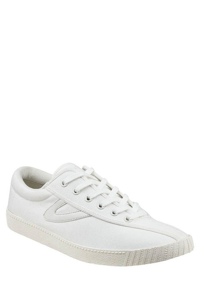 NyLite Classic Canvas - White/Vintage White  https://shoptrixie.com/products/nylite-classic-canvas-white-vintage-white  The Original and classic Sneaker from Tretorn. Since 1891 the original canvas style has been loved worldwide. Shown here in white with navy detailing. Comes with contrast laces along with white laces.