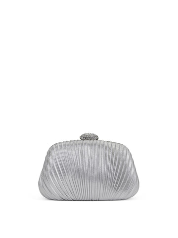 Brianna Hard Case Clutch In Silver