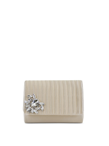 Katie Satin Clutch In Champagne