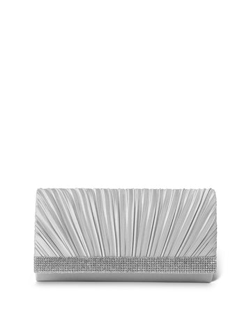 Chloe Satin Clutch In Silver