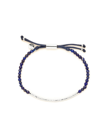 Power Gemstone Lapis Silver Bracelet for Wisdom
