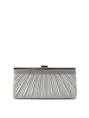 Laura Satin Pleat Clutch In Silver