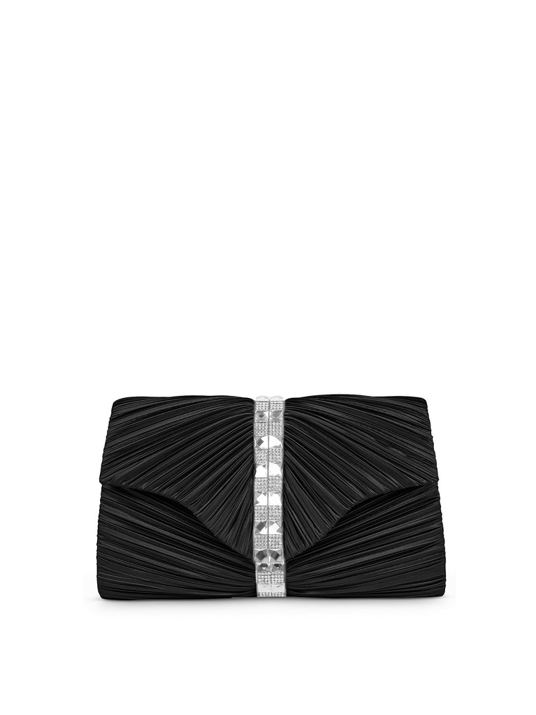 Florence Satin Pleat Clutch In Black