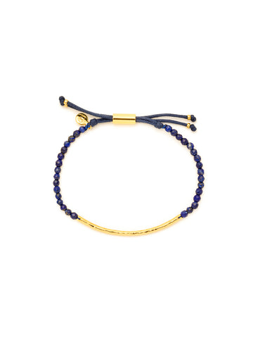 Power Gemstone Lapis Gold Bracelet for Wisdom