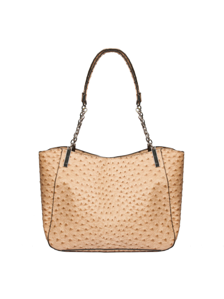 Pacifica Chain Tote In Sand Ostrich