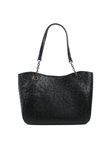 Pacifica Chain Tote Black Ostrich