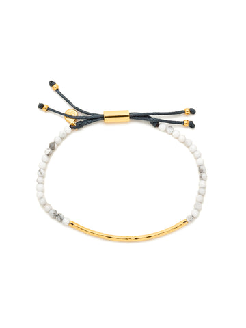 Power Gemstone Howlite Gold Bracelet for Calming