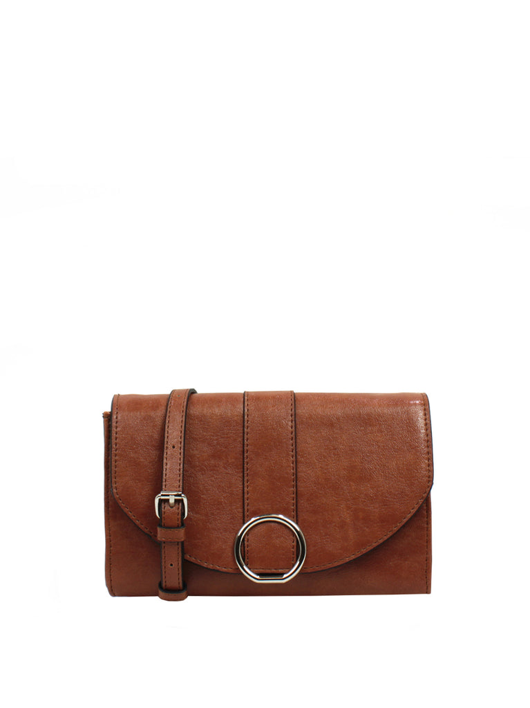 Ellie Crossbody Wallet In Cognac
