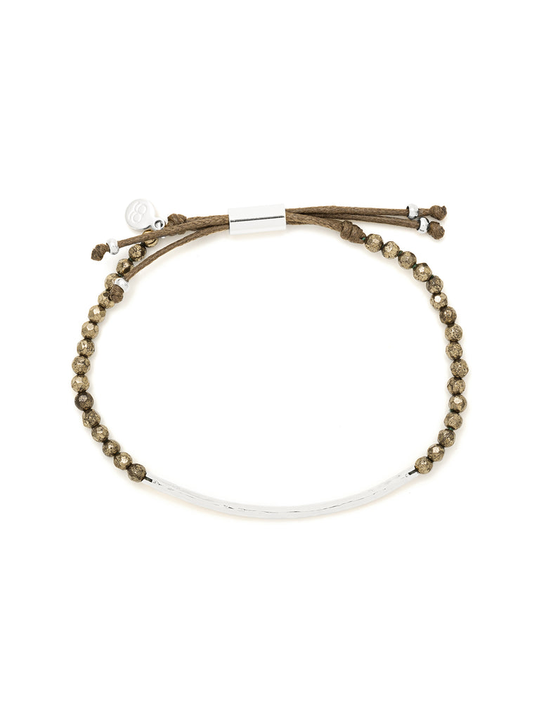 Power Gemstone Pyrite Silver Bracelet for Strength