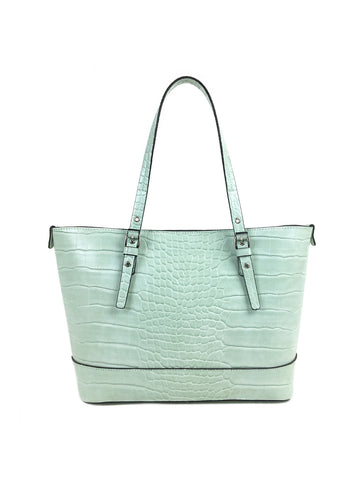 Grace Satchel In Pistachio Croco