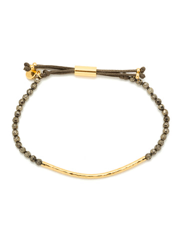 Power Gemstone Pyrite Gold Bracelet for Strength