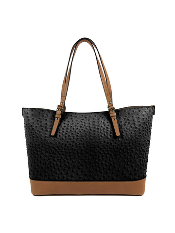 Grace Satchel In Black Ostrich Camel