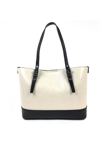 Grace Unlined Satchel In Black And Ivory