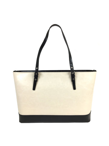 Grace Tote In Black And Ivory