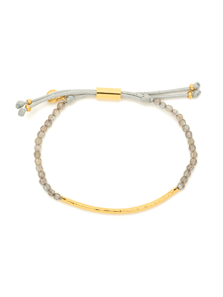 Power Gemstone Labradorite Gold Bracelet for Balance