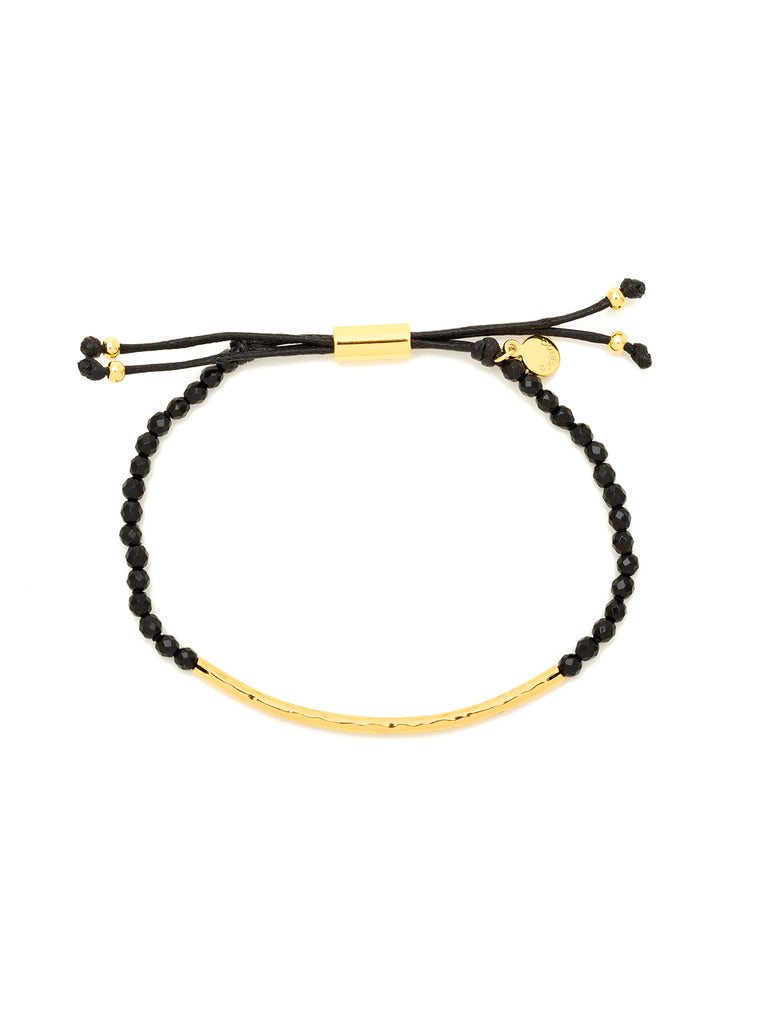 Power Gemstone Black Onyx Gold Bracelet for Protection