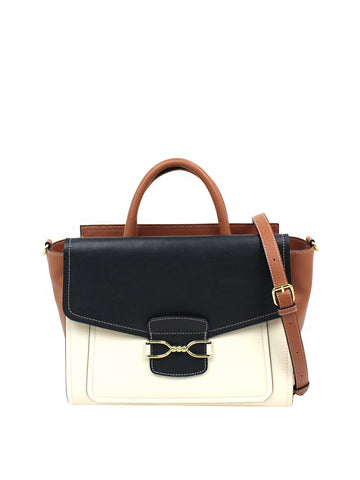 Bailey Satchel In Navy And Ivory