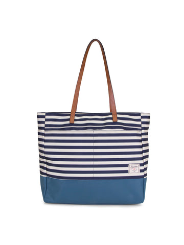 Mainlander Tote In Stripe Indigo