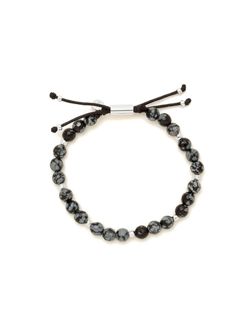 Power Gemstone Snowflake Obsidian Silver Bracelet for Courage