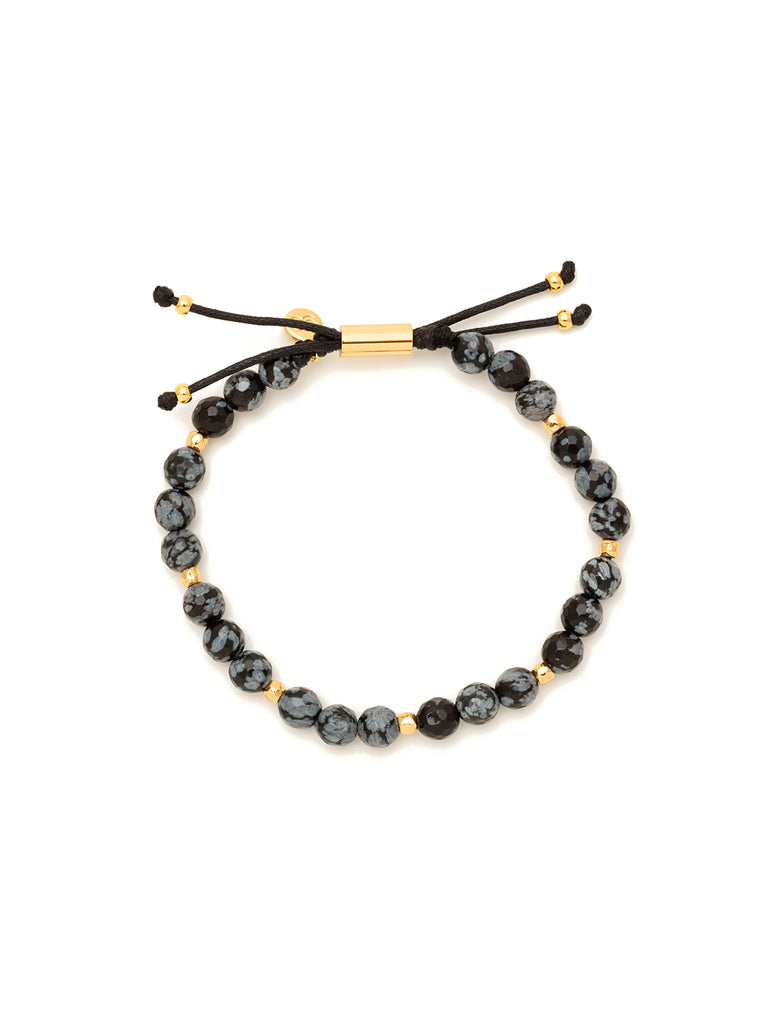 Power Gemstone Snowflake Obsidian Gold Bracelet for Courage