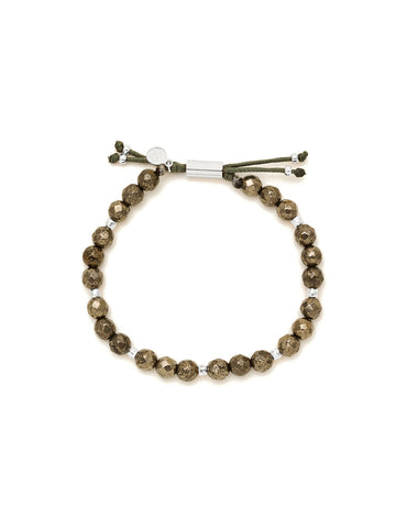 Power Gemstone Pyrite Beaded Silver Bracelet for Strength