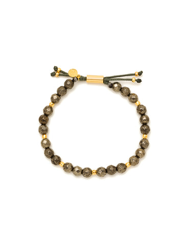 Power Gemstone Pyrite Beaded Gold Bracelet for Strength
