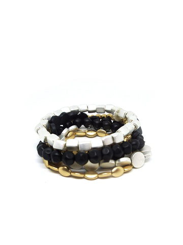 Multi Shape Metal Bracelet Set In Matte Black/Gold/Silver