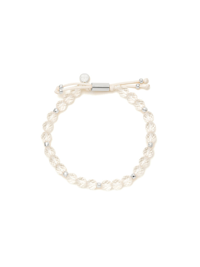 Power Gemstone Crystal Quartz Silver Beaded Bracelet for Clarity