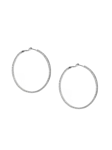 Large Shimmer Hoop Earring In Silver