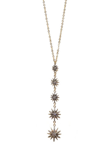 Drop Starburst Necklace In Gold