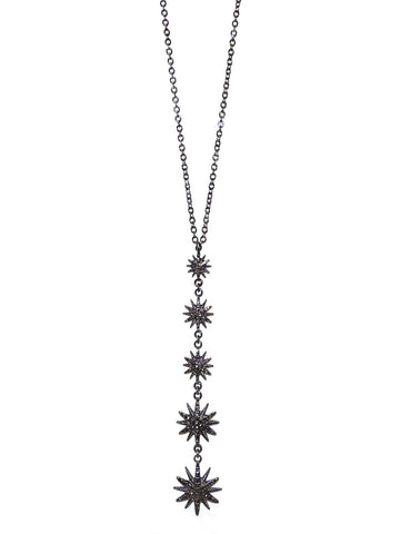 Drop Starburst Necklace In Hematite