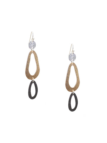 Shimmer Oval Drop Earring In Multi