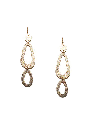Shimmer Oval Drop Earring In Gold