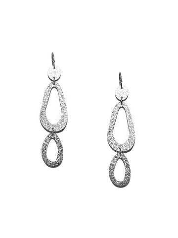 Shimmer Oval Drop Earring In Silver