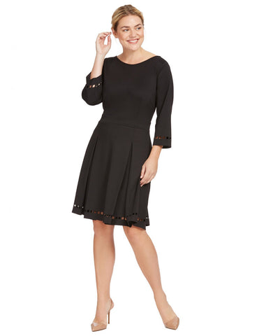 Perforated Fit And Flare Dress In Black