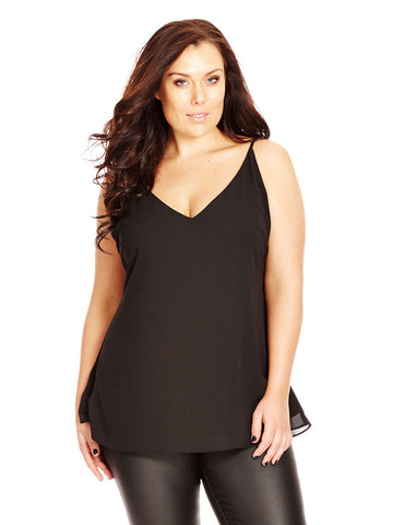 Simple Double Layer Top In Black
