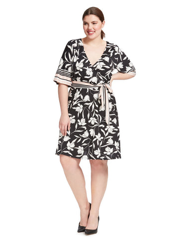 Floral Stripe Faux Wrap Dress