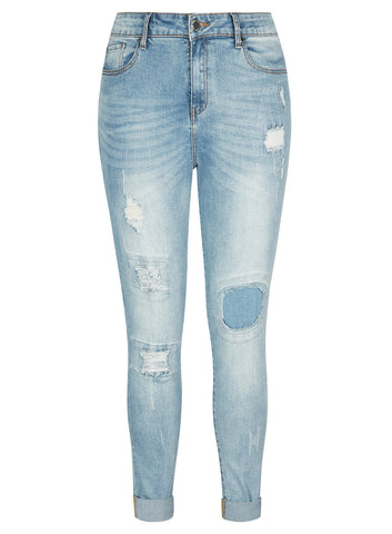Patched Skinny Harley Jean
