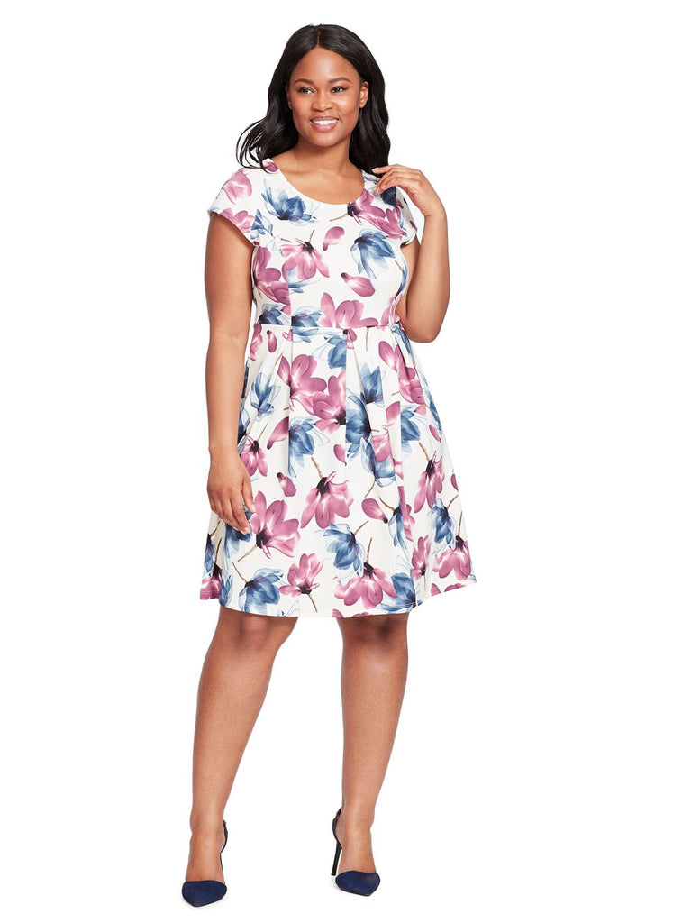 Cap Sleeve Fit And Flare Dress In White Floral Print