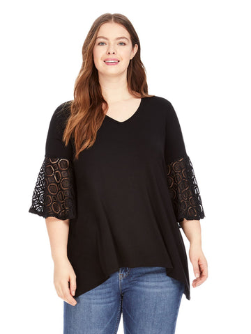 Lace Bell Sleeve Top In Black