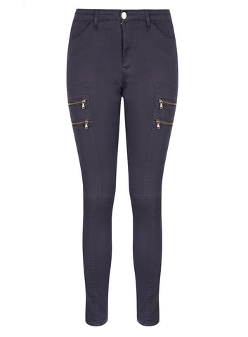 New! - Commando Zip  Pant In Charcoal