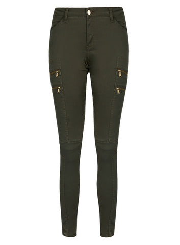 Commando Zip Pant In Khaki