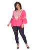 Bell Sleeve Embroidered Fuchsia Top