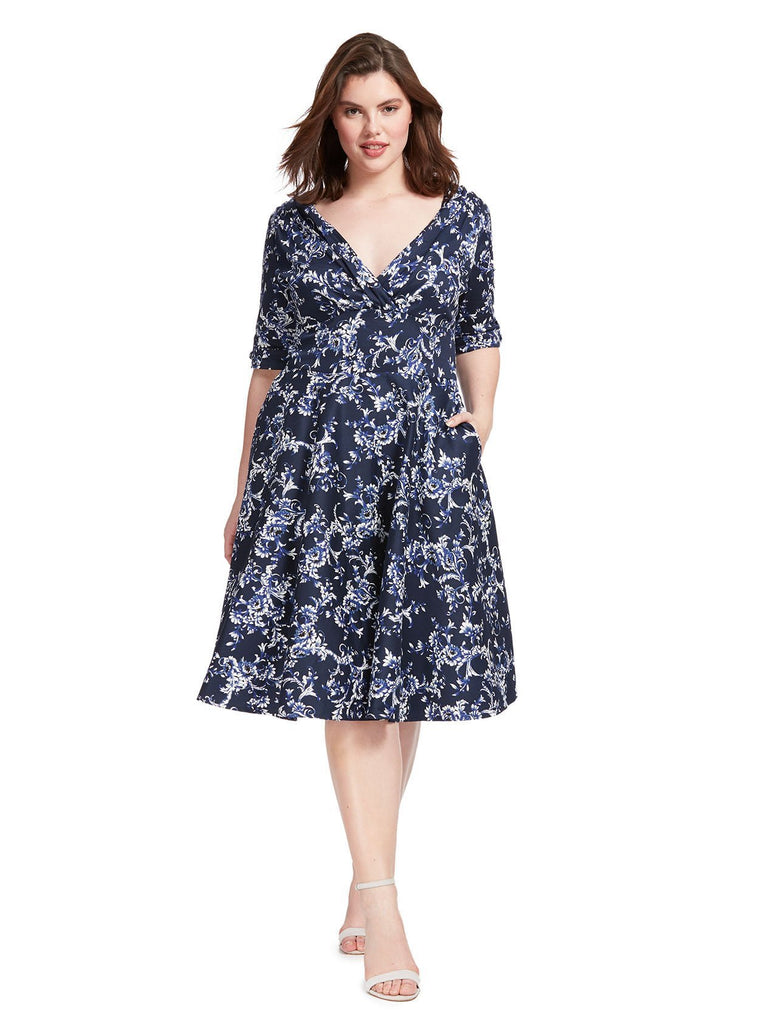 Delores Navy Blue Floral Fit And Flare Dress