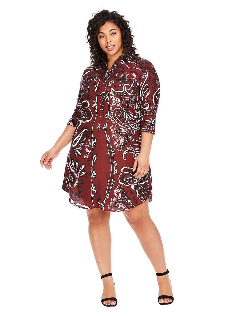 Graphic Floral Print Shirtdress