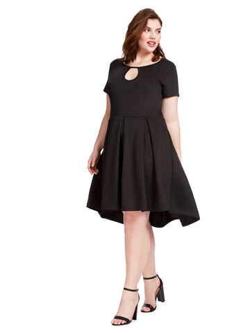 Keyhole Pleated Hi-Lo Black Skater Dress